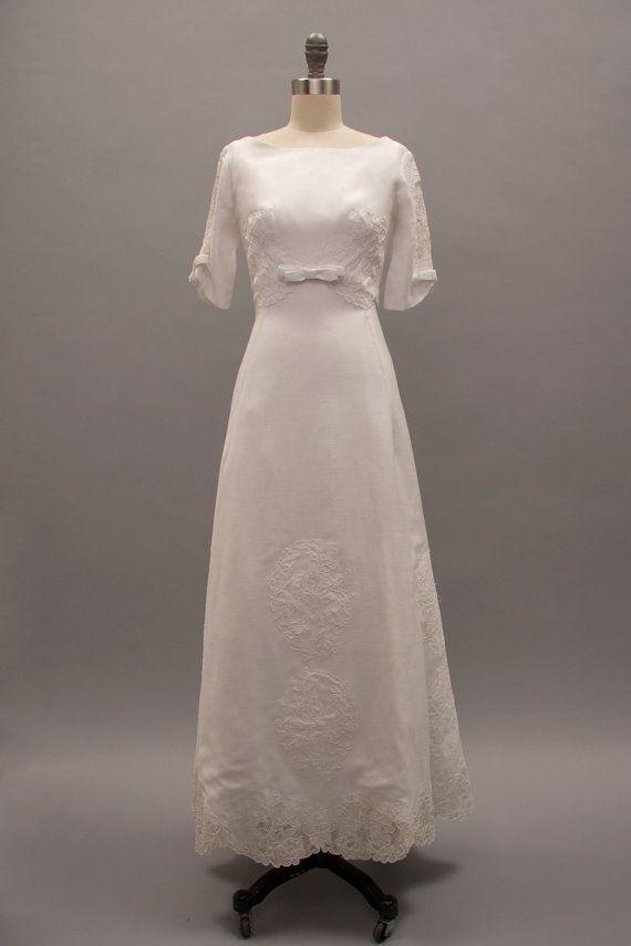 Vintage 1960s White Linen Wedding Dress by RevivalVintageBoutiq ...