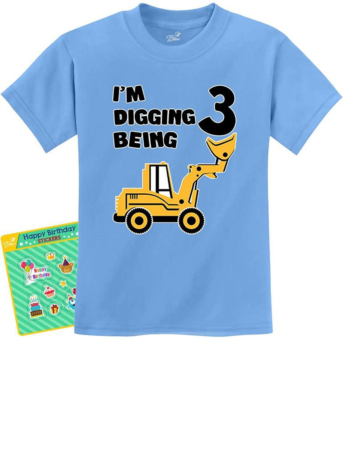 Amazon 3rd Birthday Bulldozer Construction Party 3 Year Old Boy Toddler Kids T Shirt 3T California Blue Clothing