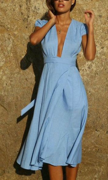 0fab258f2b7dc2 The most beautiful blue wrap dress. I have been looking for this dress for  so long