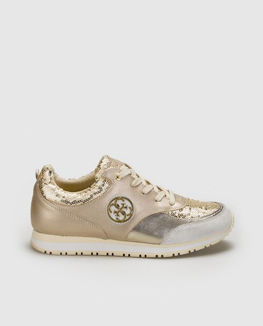 bb1604d456dd Zapatillas deportivas de mujer de Guess doradas … | Zapatos Bajos en ...