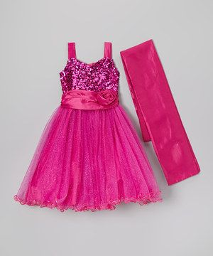 Fuchsia Sequin Dress & Shawl - Infant, Toddler & Girls by Kid Fashion #zulily #zulilyfinds