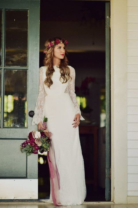 Weiße Spitze häkeln Bell Sleeve einfache böhmische Hochzeit Kleid ...