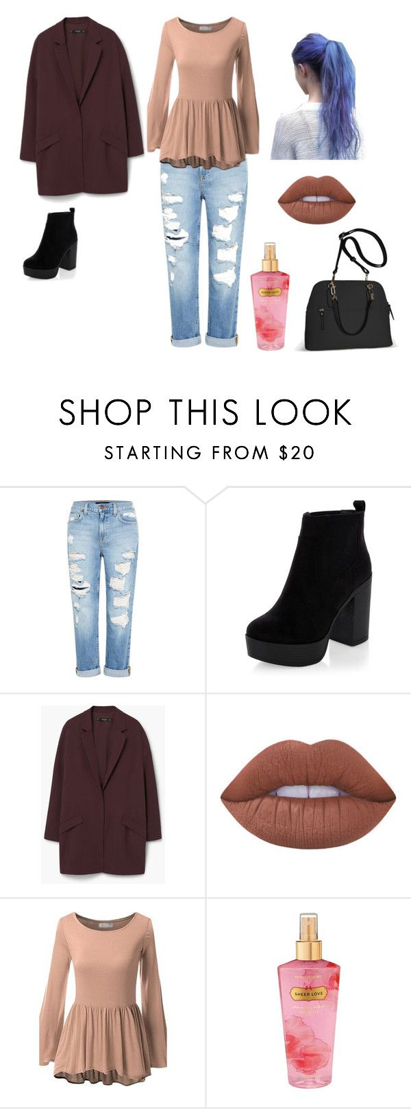"""""""Untitled #5"""" by paula-andrea-rivera ❤ liked on Polyvore featuring beauty, Genetic Denim, New Look, MANGO, Lime Crime, Victoria's Secret and Avenue"""