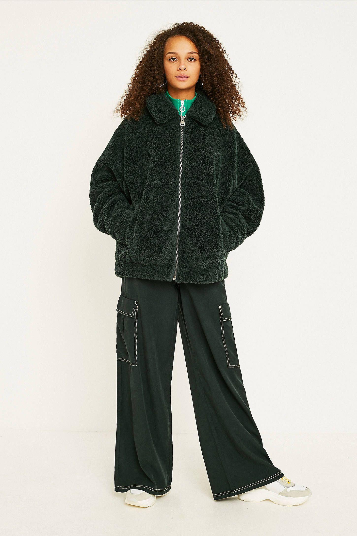 3ea7eff34 UO Green Teddy Zip-Through Coat | Uni clothes | Teddy coat, Green ...