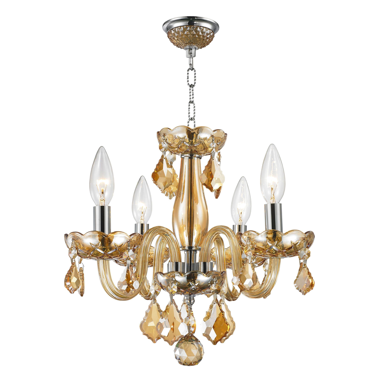 Modern Elegance 4 light Full Lead Amber Crystal Chrome Grey