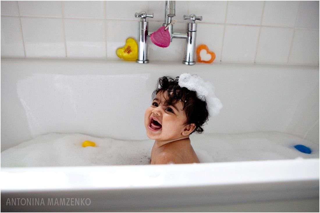 Baby Girl Enjoying Bubble Bath at Home: Home Photo Shoot Ideas ...