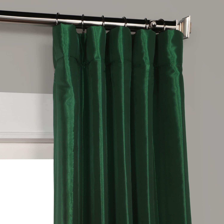 Emerald Green Faux Silk Taffeta Curtain Curtains Green Curtains