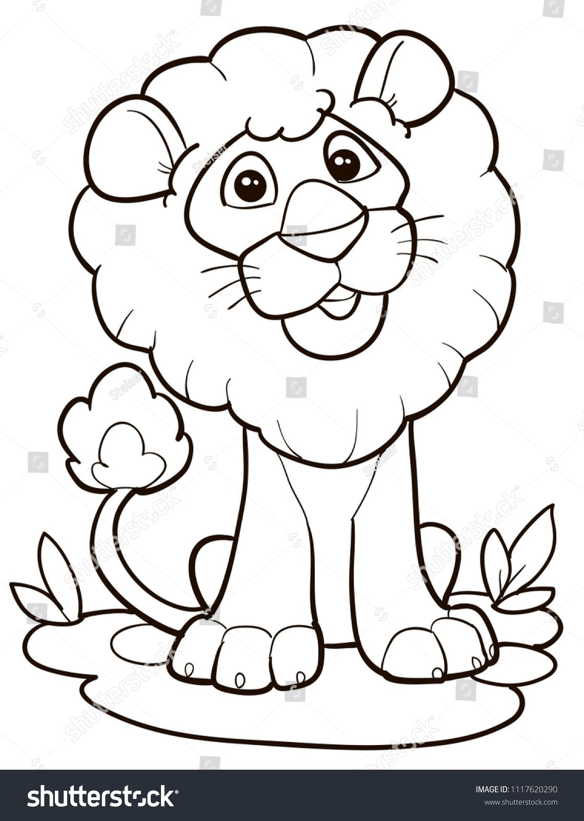 Coloring Page Outline Of Cartoon Cute Lion Vector Illustration Summer Coloring Book For Kids Cartoon Lion Coloring Pages Animal Coloring Pages Cartoon Lion