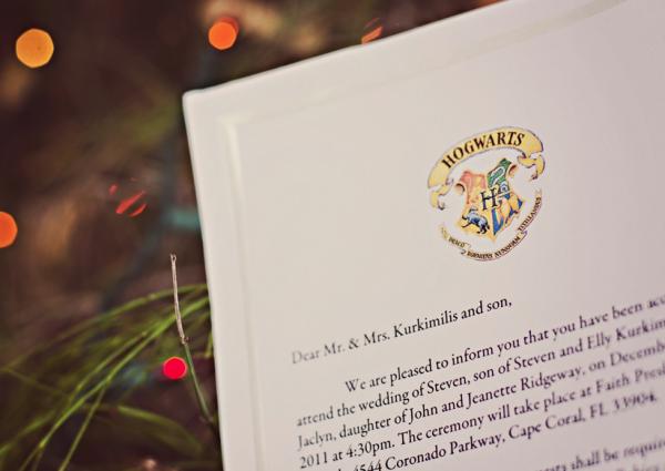 Convite para casamento inspirado em Harry Potter.