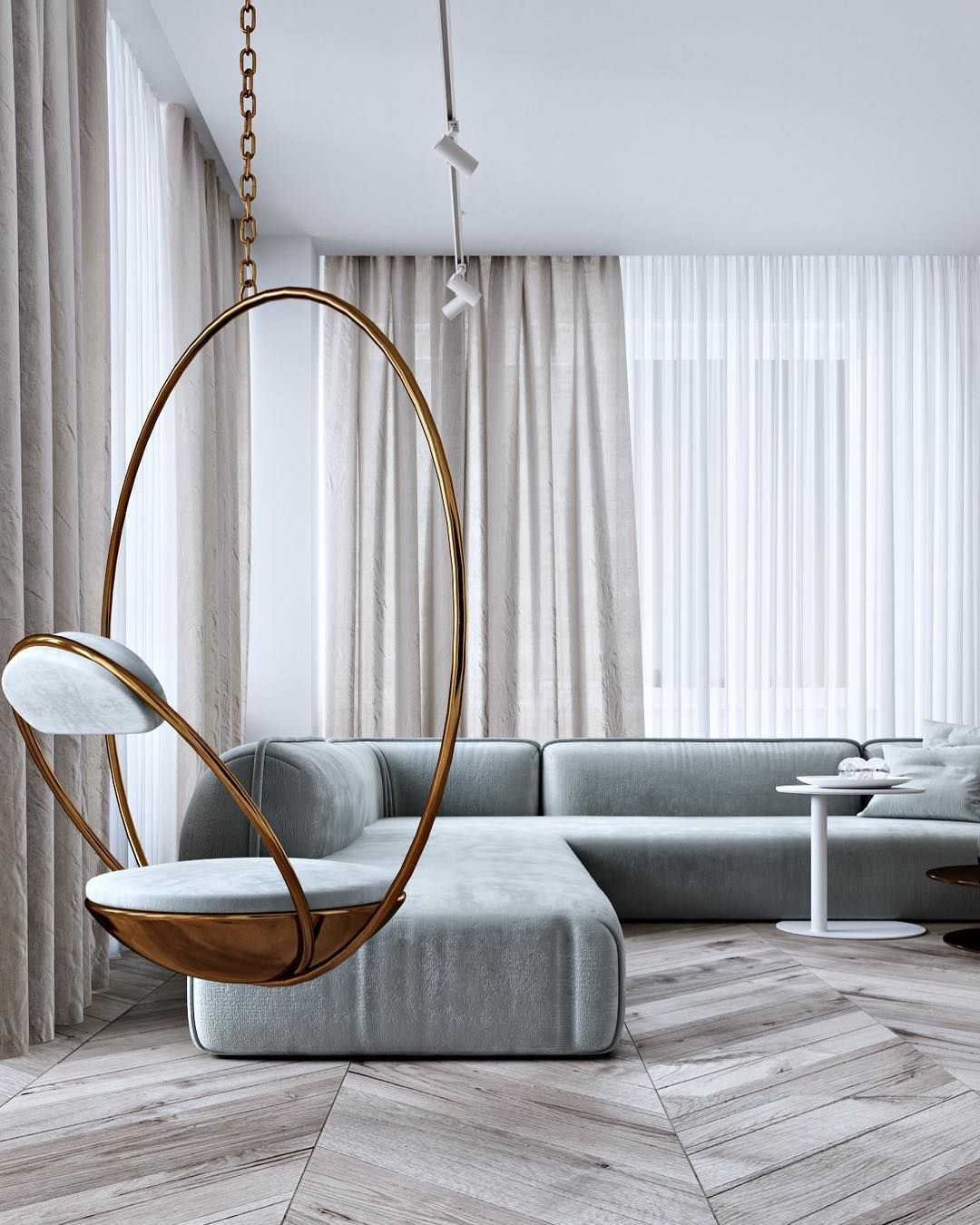 Gold Hanging Chair By Studio Home Design P Roduct Product Design Productd Minimalist Living Room Design Living Room Design Modern Minimalist Living Room