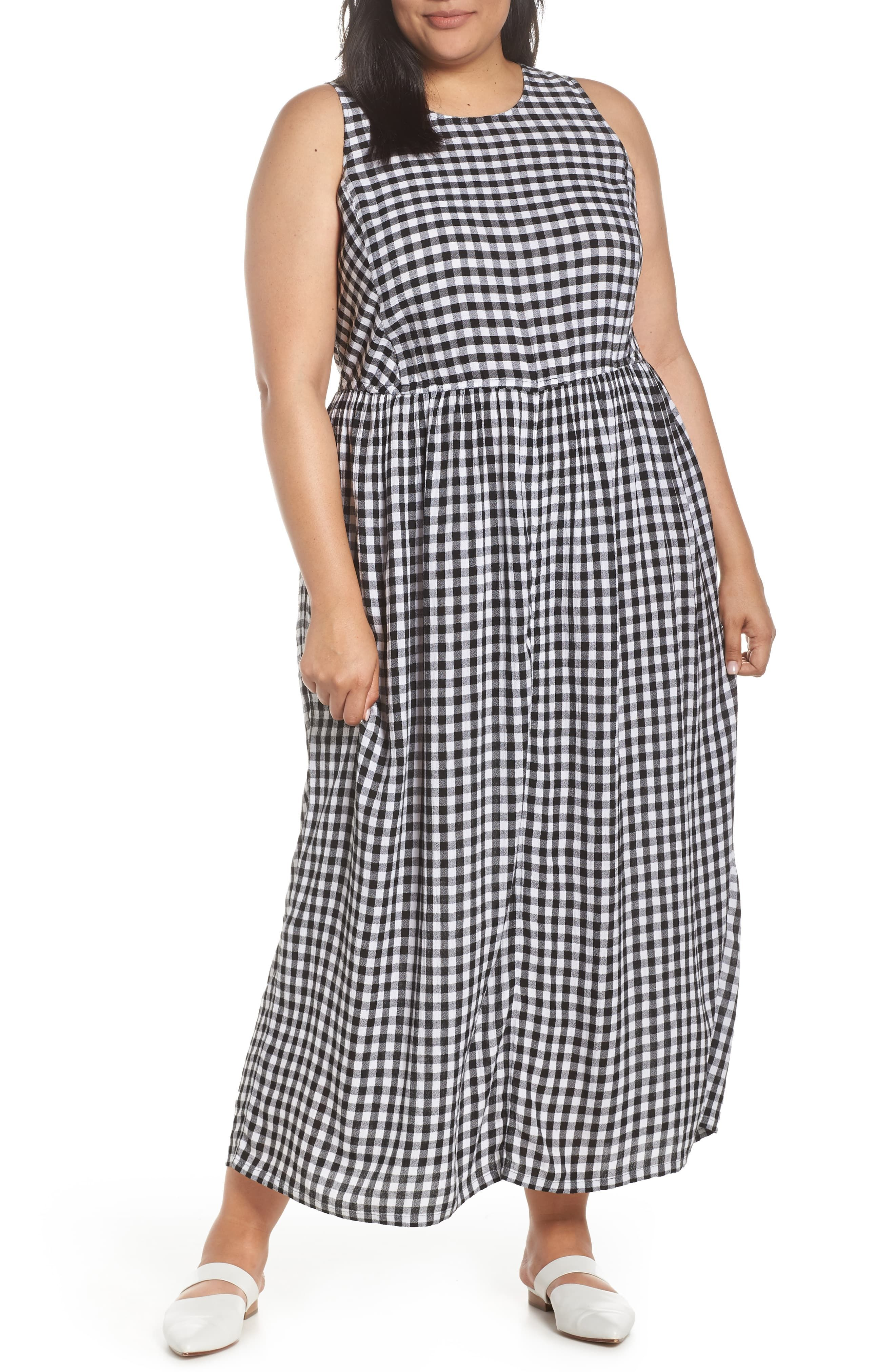 Caslon smocked cotton maxi dress plus size plus size