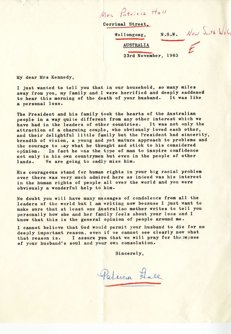 In the days and weeks following the death of president kennedy the condolence letter from patricia hall of australia to jacqueline kennedy november 1963 spiritdancerdesigns Choice Image