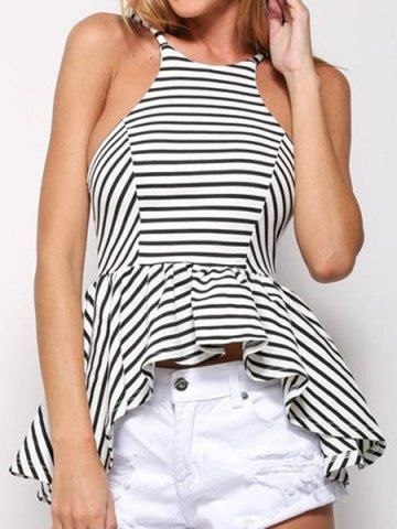 c0ef87d6a473 Sexy Scoop Neck Striped Irregular Open Back Sleeveless T-Shirt For Women. Spaghetti  StrapsClothing ...