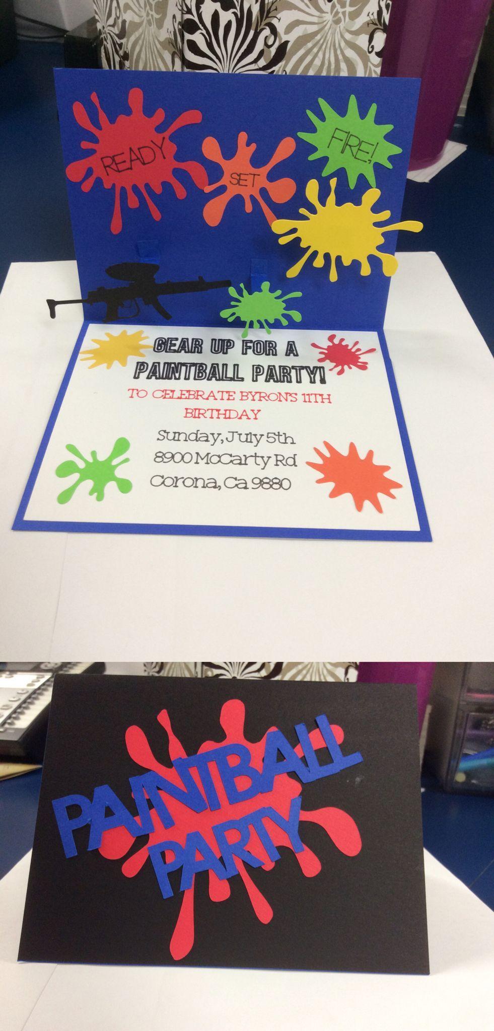 Paintball Theme Invitations Birthdayinvitation Handmade Paintball Birthday Paintball Birthday Party Paintball Party