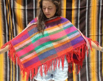Multi Colored VINTAGE 80's MEXICAN PONCHO [ Colorful + Vibrant Vintage Blouse / Poncho / Ceremonial / Festival / Shaw ] - - #festival #shirt #festivalblouse #ceremony #blouse #huipil #mexican #guatemalan #vintage #1990s #handstitched #hand-stitched