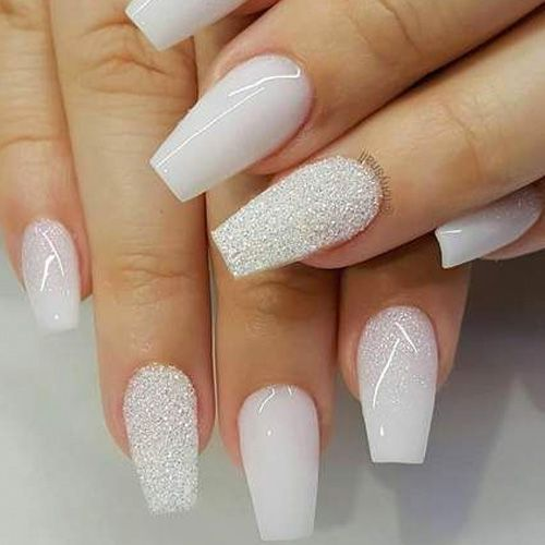 Coffin Nails 40 Of The Best Coffin Nails For 2019 Favnailart Com White Glitter Nails White Acrylic Nails Trendy Nails