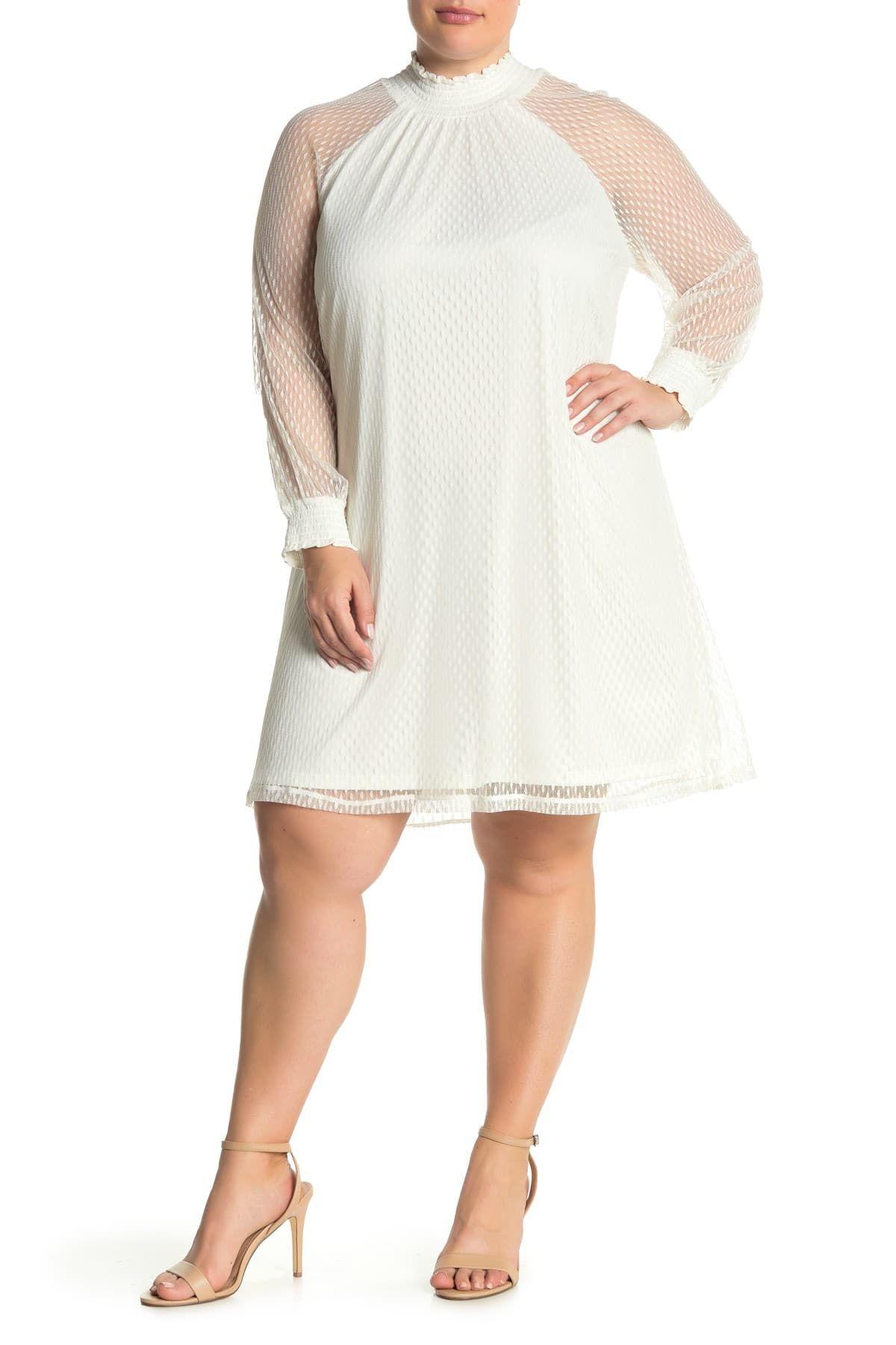 Nina Leonard Shirred Mock Neck Lace Trapeze Dress Nordstrom Rack In 2021 Trapeze Dress White Plus Size Dresses White Short Dress [ 1800 x 1200 Pixel ]