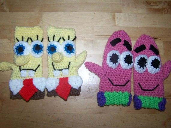 spongebob and patrick mittens crochet