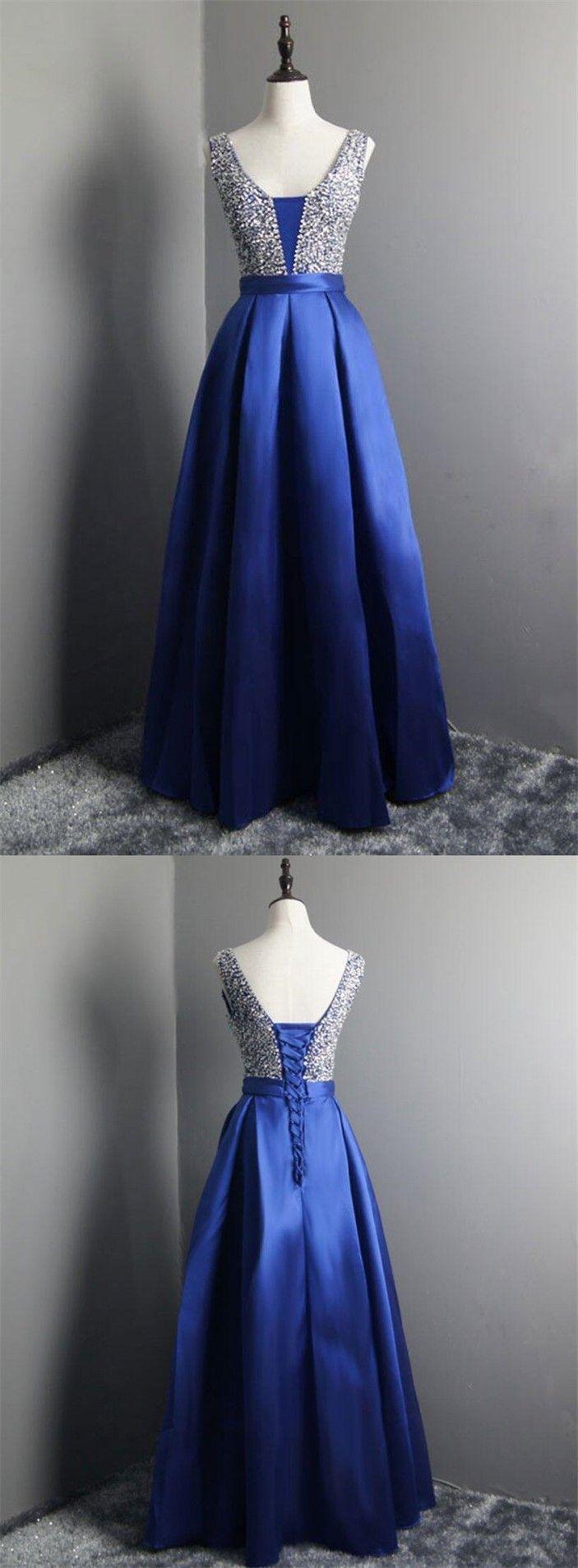 Royal blue prom dressvneck prom dresssequins prom dressbeaded