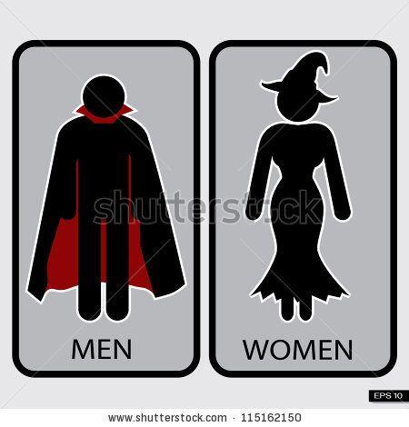 . Printable Halloween Signs   Halloween Restroom Signs Illustration