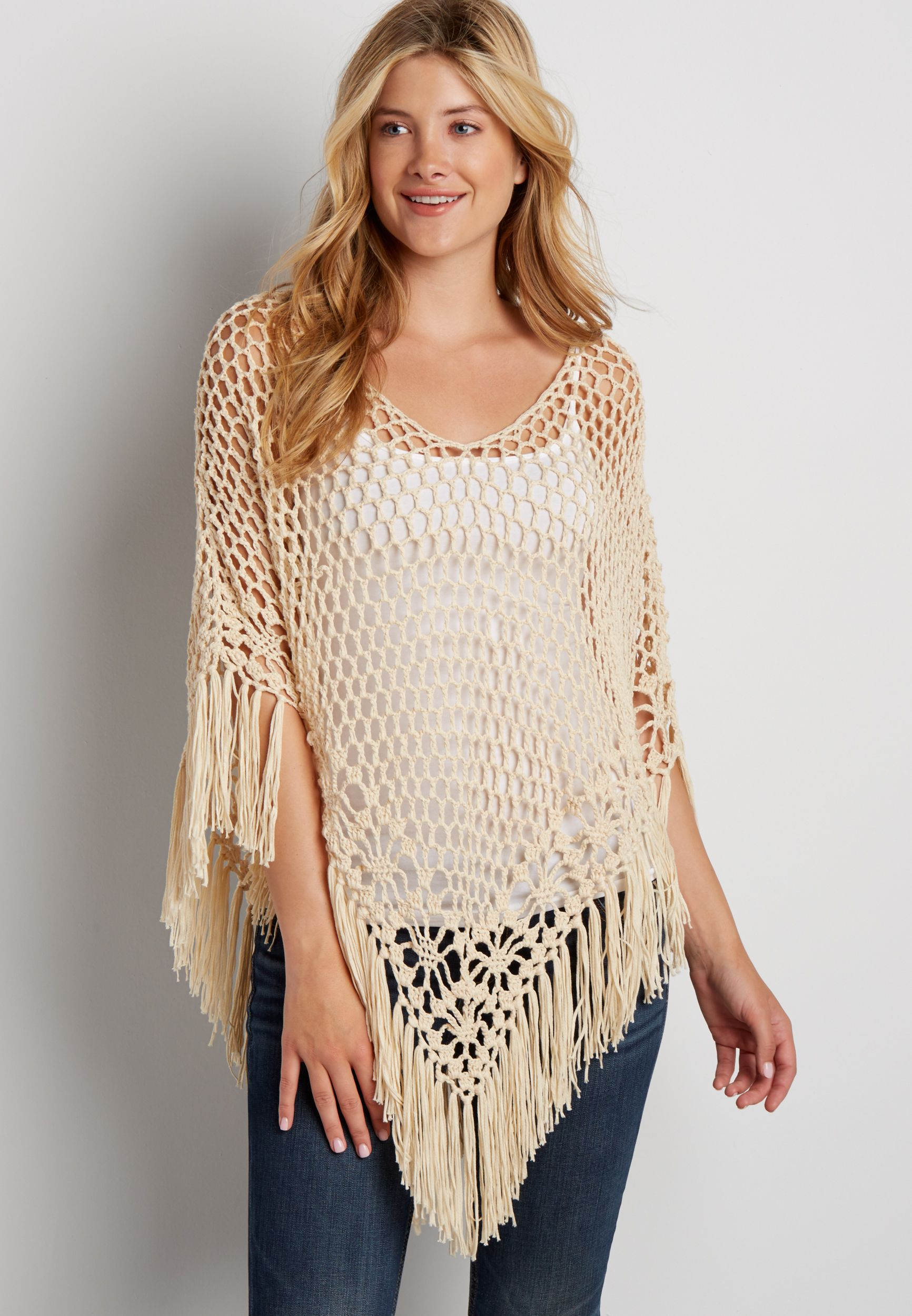 poncho with fringe (original price, $39.00) available at #Maurices