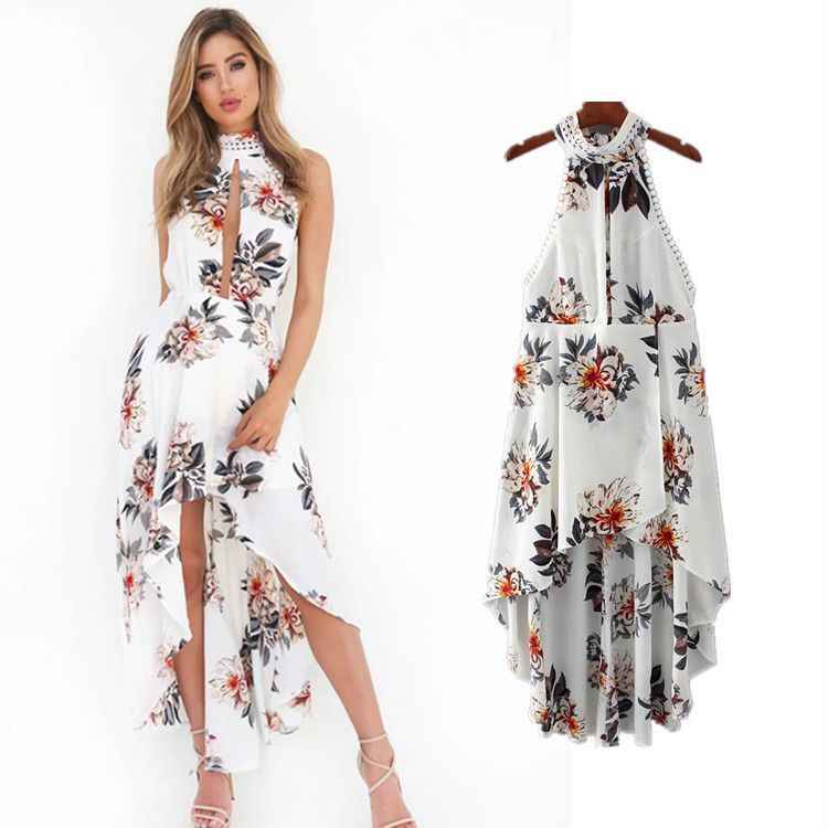 White Chiffon Front Silt Casual Style Backless Halter Top: Bear Shoulder High Neck Open Front Irregular Print Dress