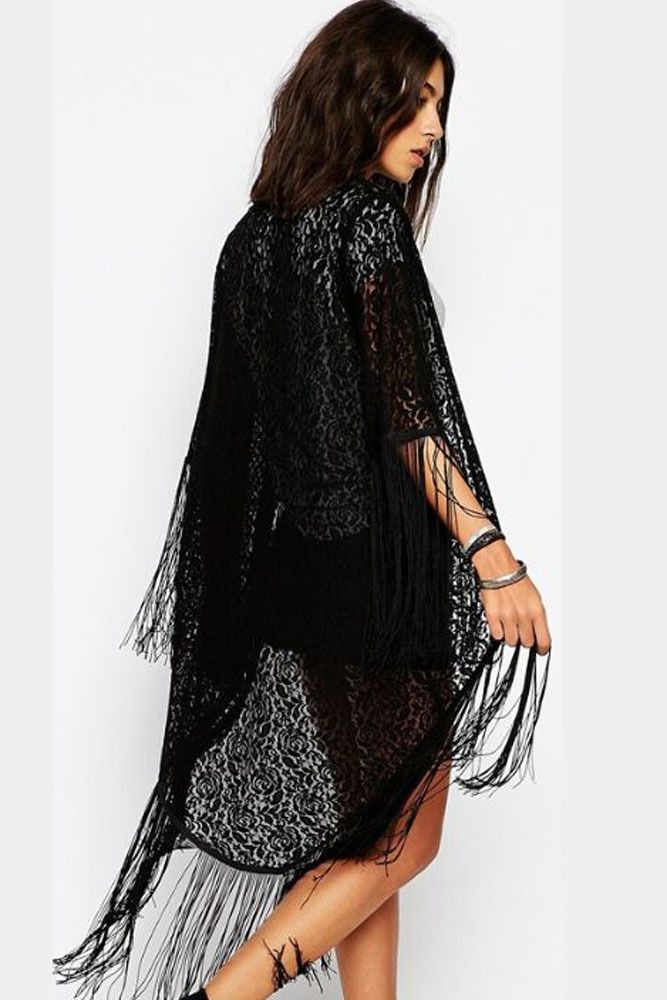 Kimono Cardigan Women Summer Cover Ups Black Sleeve Chiffon Lace ...