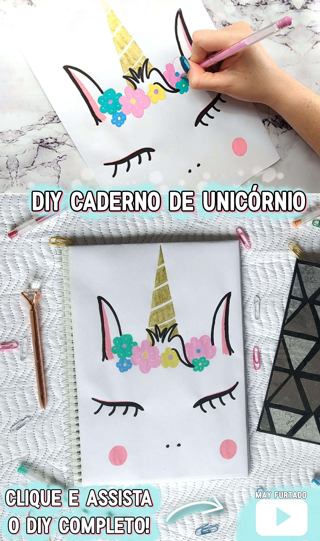 Diy Caderno De Unicórnio Com Desenho Fácil Faça Você Mesmo