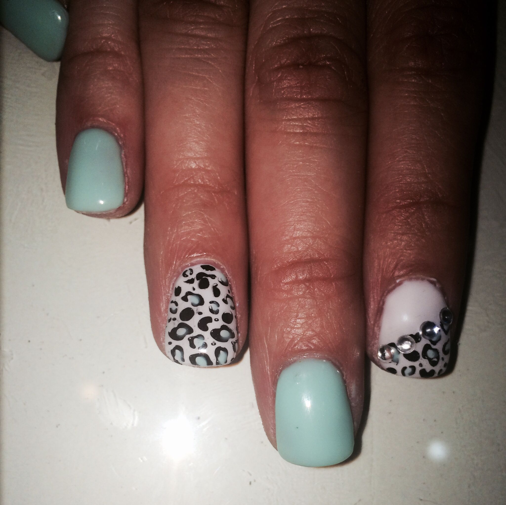 Mint and leopard:) gel nail designs