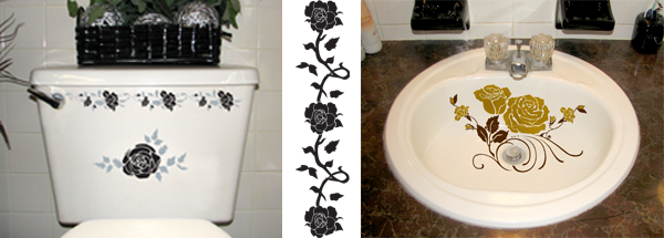 Waterproof Decals To Decorate Your Bathroom Sink Or Toilet Tank. Lots Of  Different Designs And