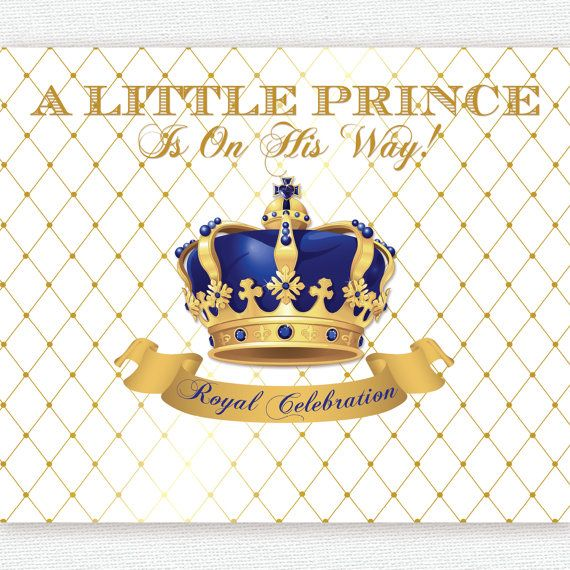 Gold And Royal Blue Prince Crown Baptism Christening Birthday Baby Shower Backdrop Sign Poster Banner Party Decor King Boy Baby Shower Backdrop Prince Baby Shower Centerpieces Printing Center