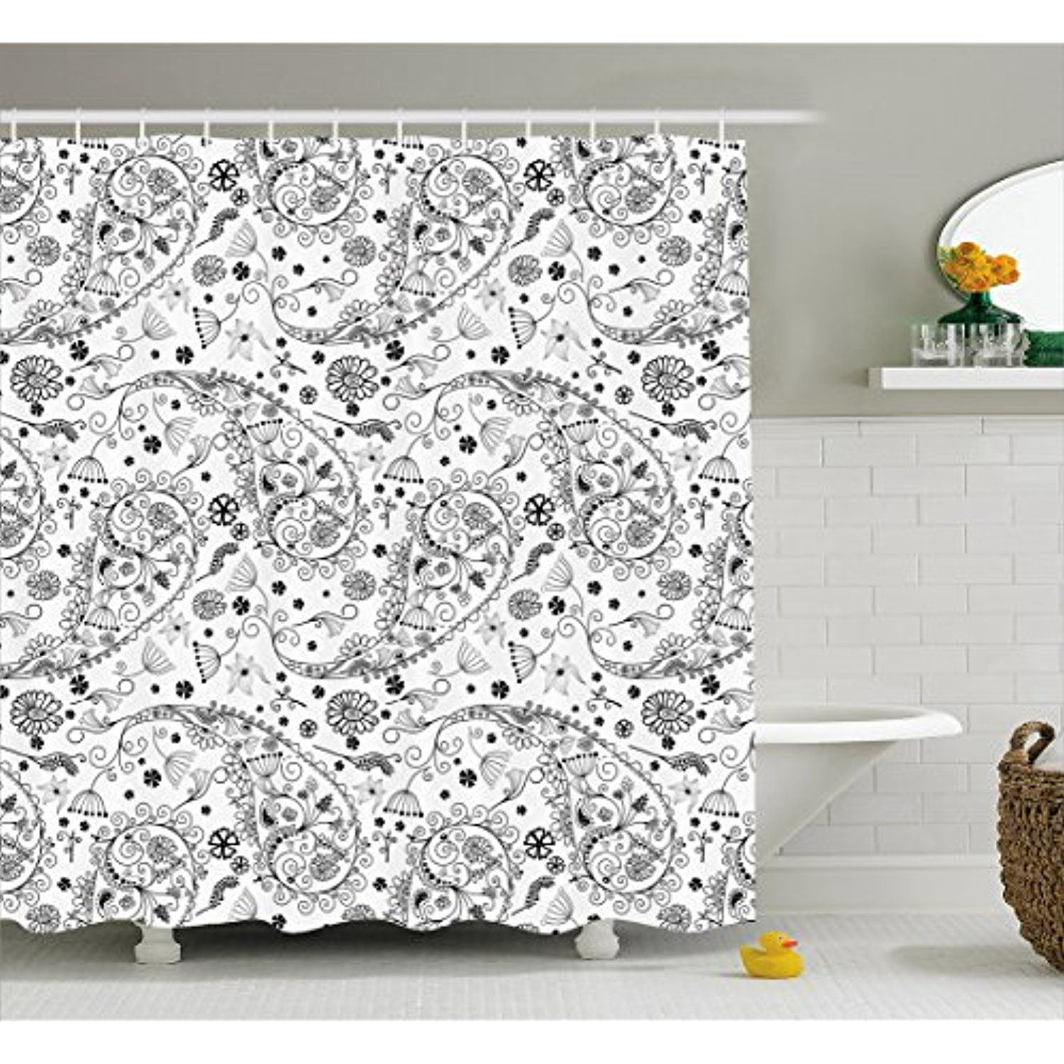 Paisley Shower Curtain By Lunarable Monochrome Flower Pattern With