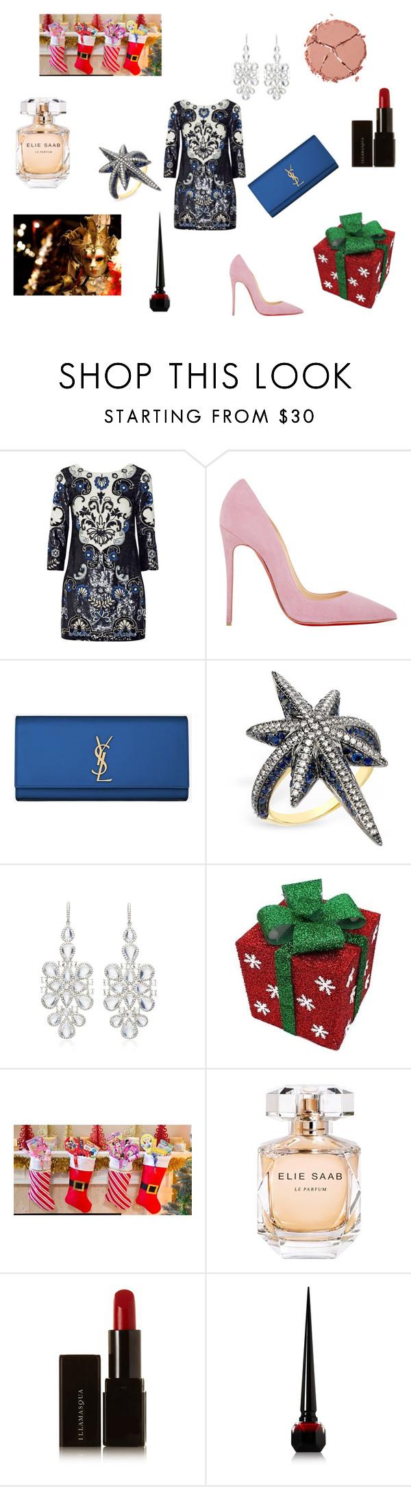 """Kinda Christmas party look"" by maria-chamourlidou ❤ liked on Polyvore featuring Needle & Thread, Christian Louboutin, Yves Saint Laurent, Venyx, NSR Nina Runsdorf, Elie Saab, Illamasqua and Charlotte Tilbury"