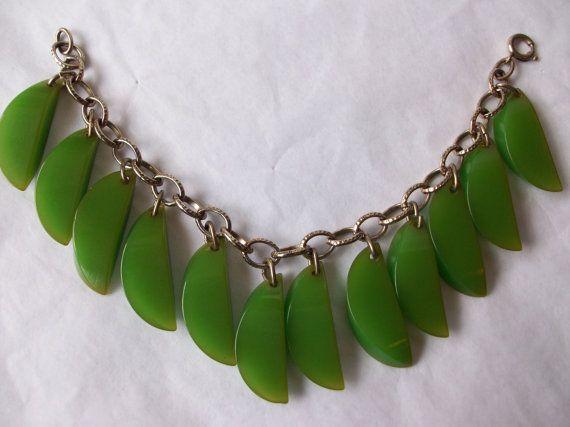 Vintage Green Bakelite Dangle Linked by EliseVintageJewelry, $145.00
