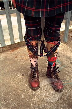 UK Punk Girl | ... punk girl's tartan bondage trousers; Doc Marten boots; London; UK