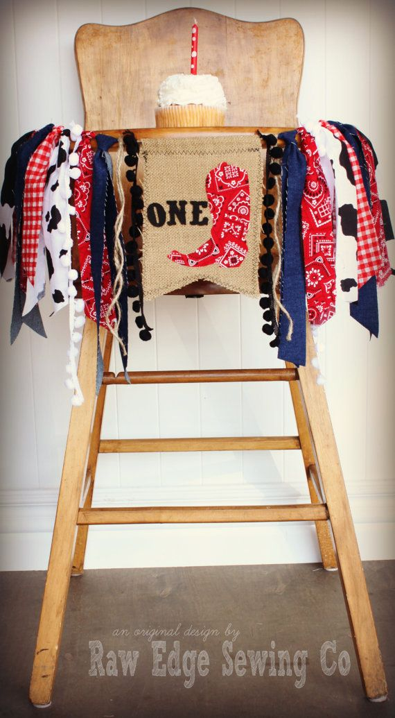 3ec37e64f2613 RODEO COWBOY Birthday High Chair Highchair Banner Party Photo Prop Backdrop  Cake Smash Western First One Wild Fabric Boot Cowboys Indians in 2019