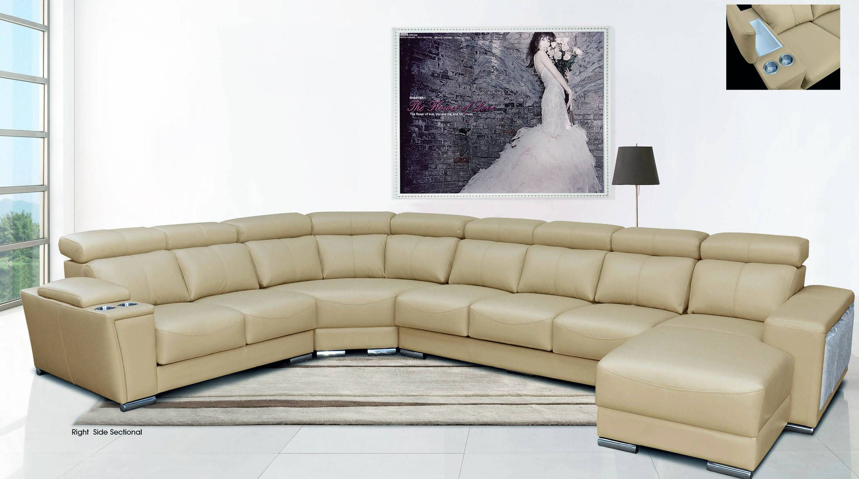 Cream Italian Leather Extra Large Sectional With Cup Holders Reclining Sectional Comfortable Sectional Sofa Comfortable Sectional
