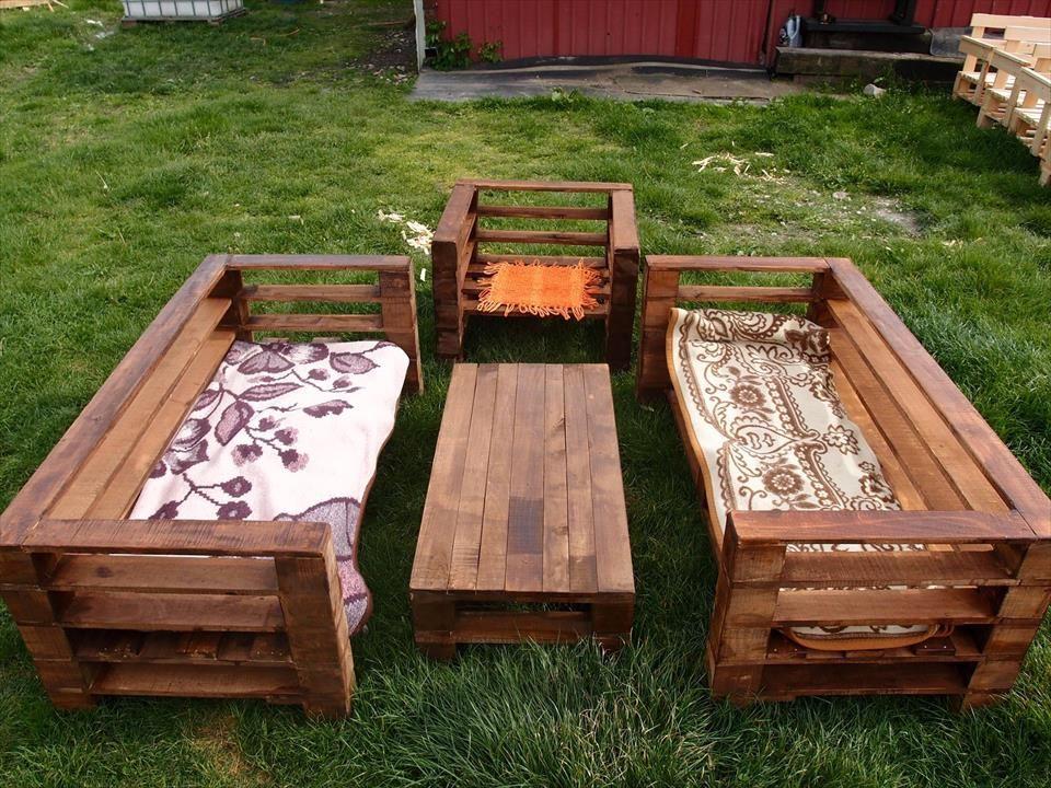 Wood Pallet Garden Furniture Set Diy Pallet Garden