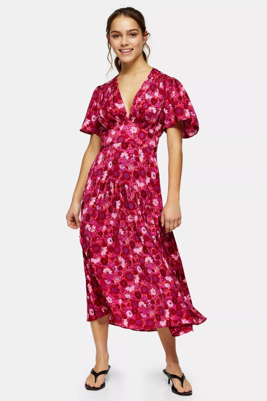 PETITE Willow Pink Floral Print Angel Sleeve Midi Dress in