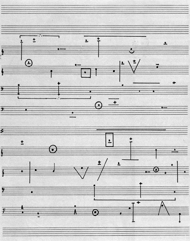 Horacio Vaggione, L\u0027Art de la Musique N°2, pour quatre oscillateurs - chess score sheet