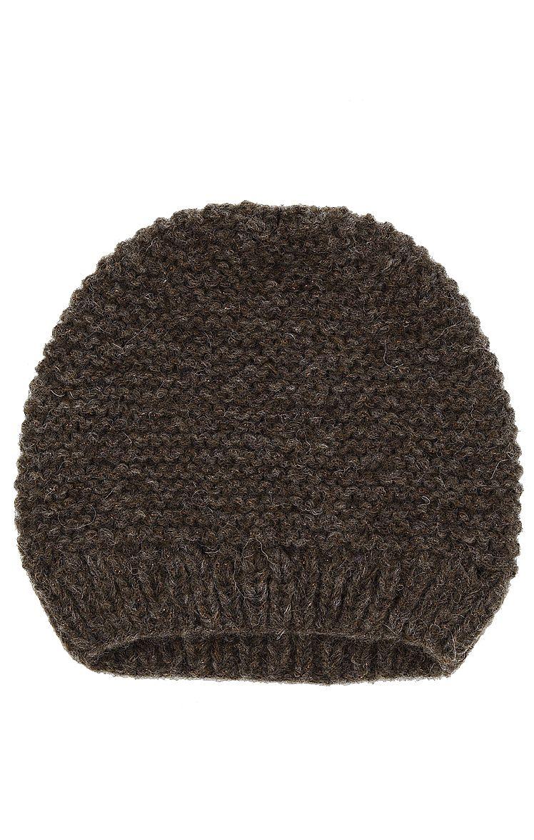 Modische Damen-Mütze von Lala Berlin in Braun. Die Mütze ist aus weichem Wollmix gestrickt und mit feinen Lurexfäden in Braun-Metallic durchzogen. Ein gerippter Saum sorgt für den nötigen Halt.