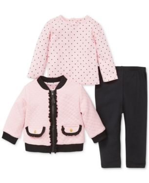 QUILTEX Girls Toddler Polka Party 2 Pc Cardigan and Dress Set