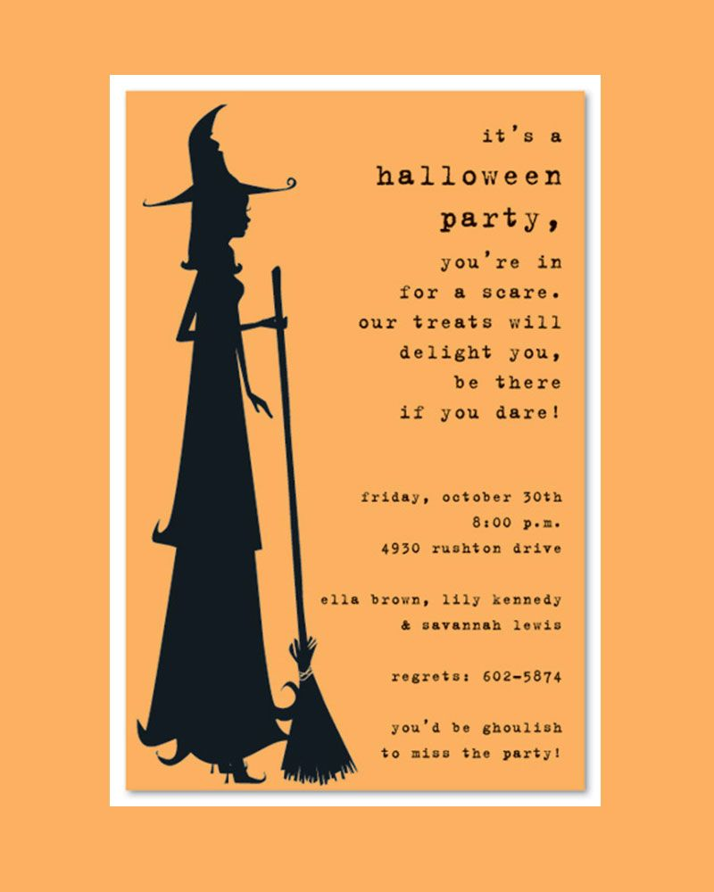 scary silhoutte witch halloween party invitation template design with light orange background. Black Bedroom Furniture Sets. Home Design Ideas