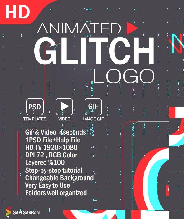 Animated glitch logo photoshop template text effect photoshop animated glitch logo photoshop template maxwellsz