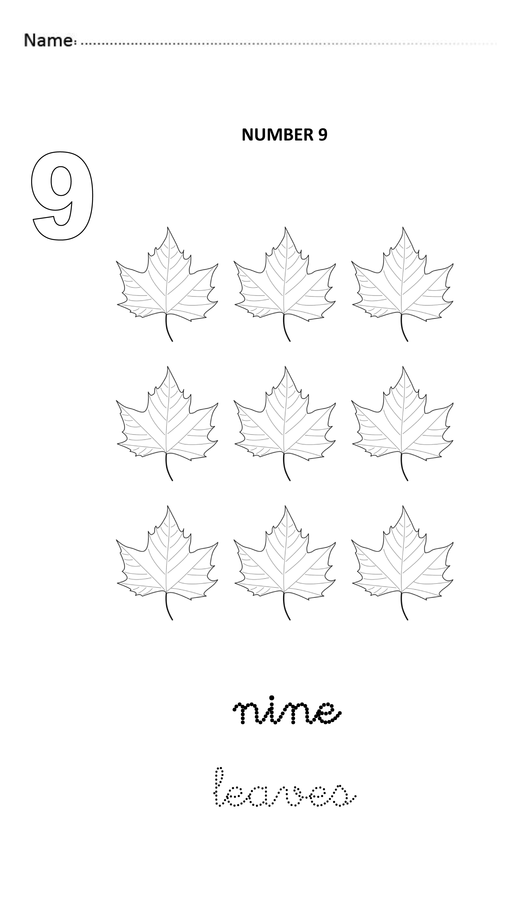 Number 9 Easy And Visual Worksheet To Teach Numbers For