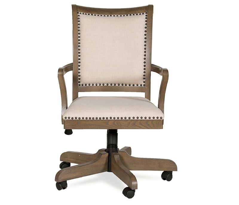 The Ultimate Office Chair Antique Brass Hardware Comfy Linen Fabric Gas Lift Adjustable Height Swivel Mechanism Wi Swivel Chair Desk Chair Boston Interiors