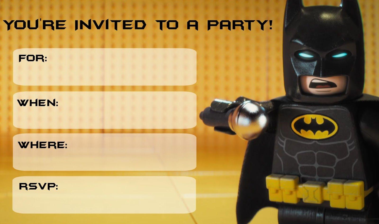 Free Lego Batman Movie Invitations Party Online