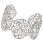 CT. T.. Round-cut CZ  Cuff Bezel Set Bracelet in Sterling Silver