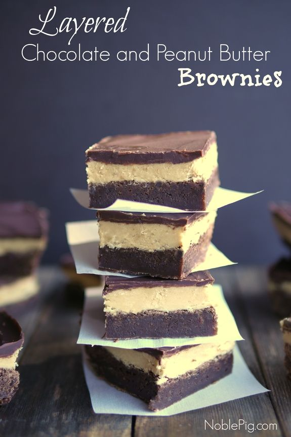 Layered Chocolate and Peanut Butter Brownies from Noble Pig