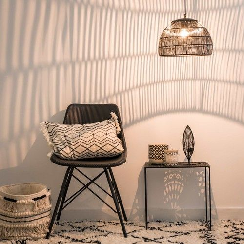 Suspension filaire en métal noir Deco Oriental Touch Pinterest